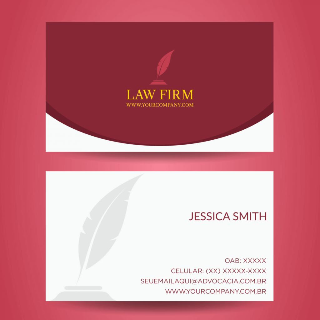 Segundo exemplo de cartão de visita para advogado.
