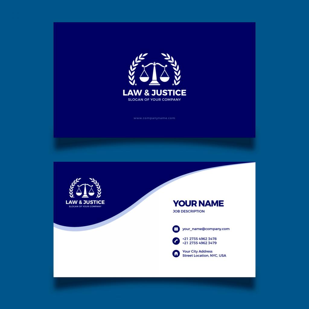Terceiro exemplo de cartão de visita para advogado.